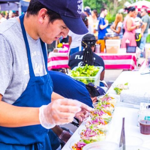 Serving Ceviche at Food Festival