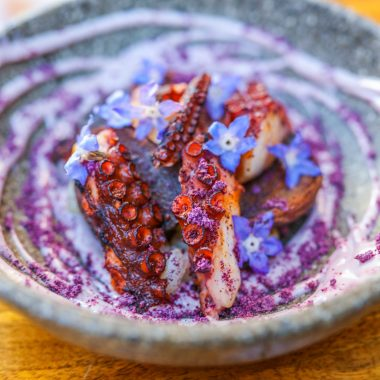 Spanish octopus grill – aji panca marinate botija olive aioli – peruvian purple potatoes
